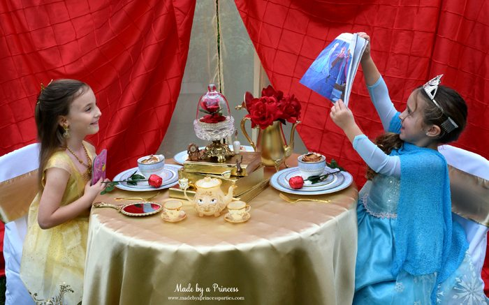 BEAUTY AND THE BEAST Themed Tea Party for Two. Elsa shares her story with Belle