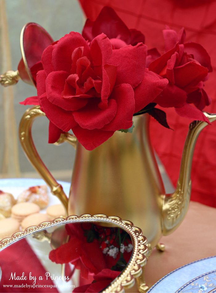 BEAUTY AND THE BEAST Themed Tea Party for Two. Spray paint a thrift store teapot find gold and add red roses