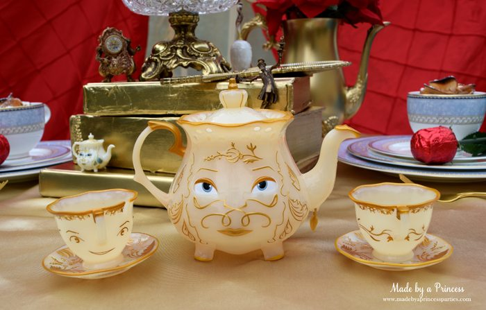 BEAUTY AND THE BEAST Themed Tea Party for Two. Mrs Potts and Chip tea set are perfect for a Beauty and the Beast party