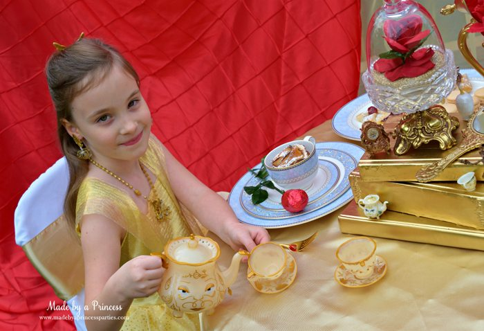 BEAUTY AND THE BEAST Themed Tea Party for Two Belle serves tea