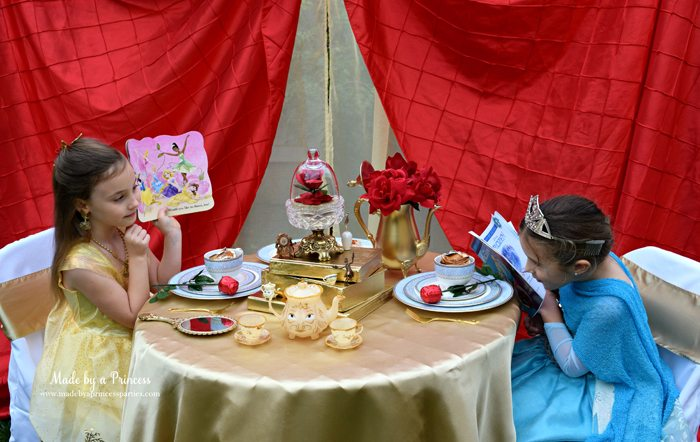 BEAUTY AND THE BEAST Themed Tea Party for Two....be sure to offer your little guests plenty of books because we know how much Belle likes to read!
