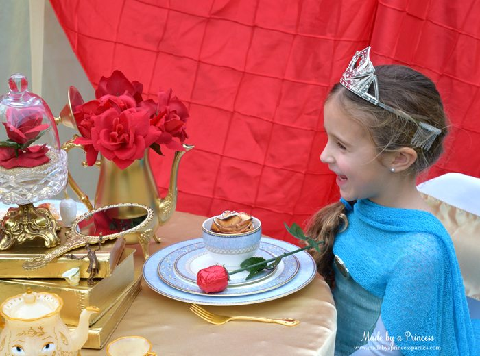 BEAUTY AND THE BEAST Themed Tea Party for Two...this is one happy Queen!