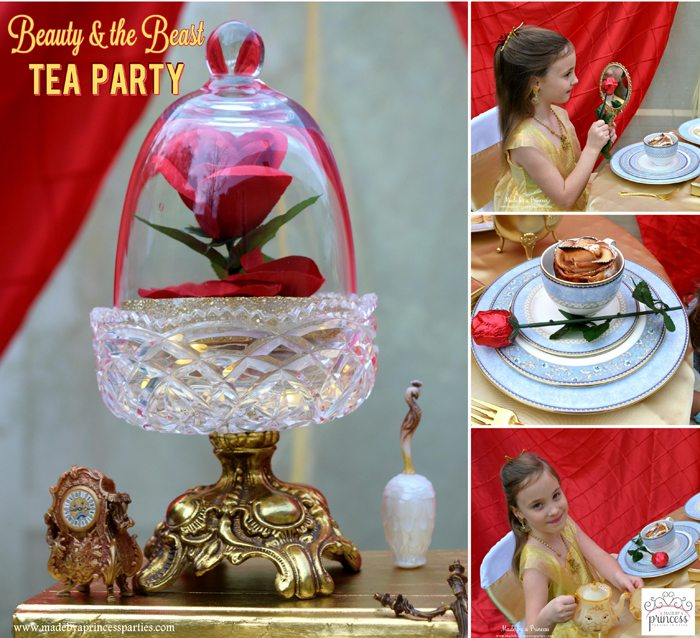 Host a quaint BEAUTY AND THE BEAST Themed Tea Party for Two. Party ideas include using red table cloths to create a dramatic and beautiful backdrop. #beautyandthebeast #teaparty #belle #belleparty #beautyandthebeastparty