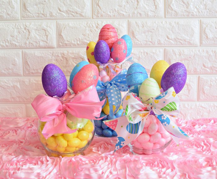 Creative Dollar Store Easter Centerpiece Tutorial three vases full of eggs
