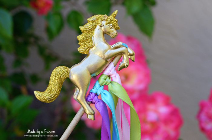 Unicorn Ribbon Wand Party Idea Tutorial easily embellish unicorns with paint and glitter perfect for party favors