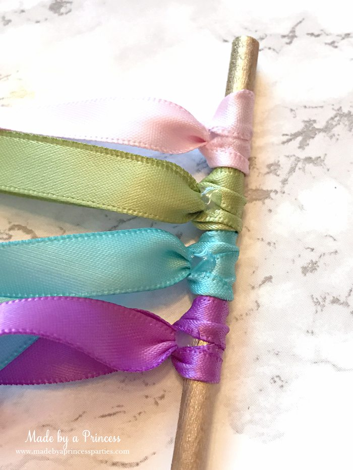 Unicorn Ribbon Wand Party Idea Tutorial glue ribbon to secure