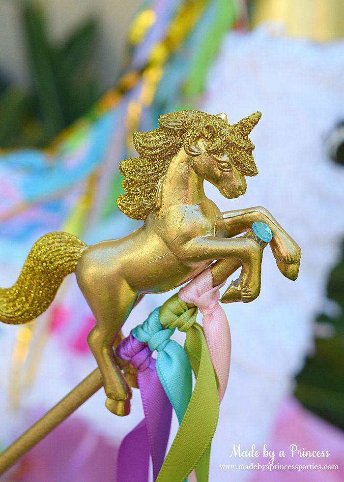 Unicorn Ribbon Wand Party Idea Tutorial spray paint gold add glitter and ribbons