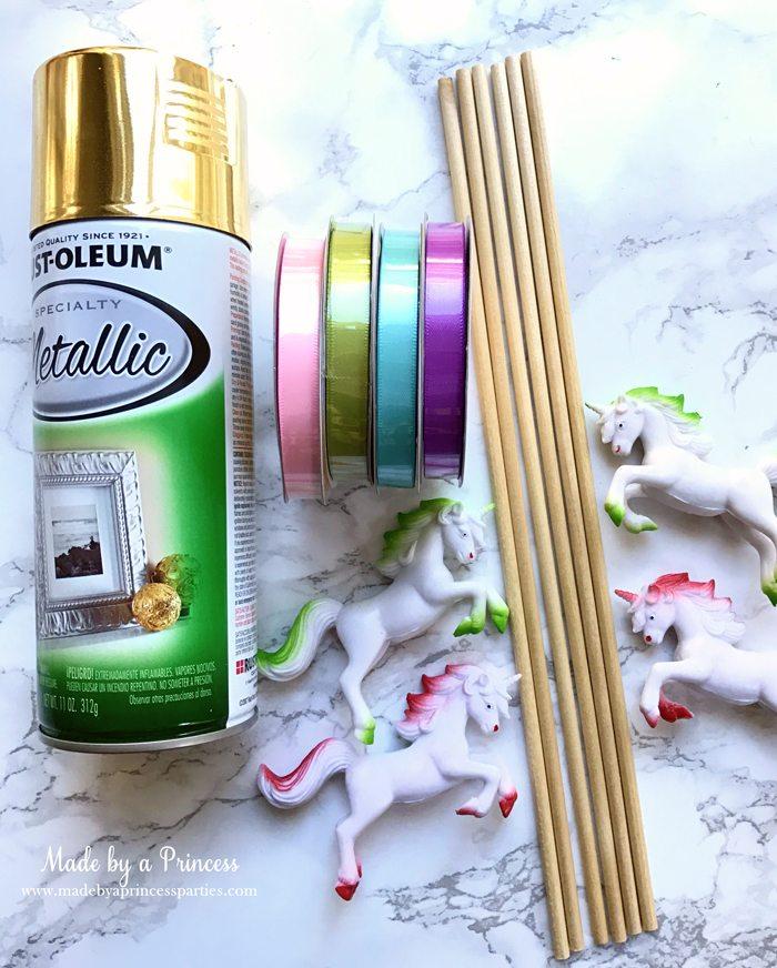 Unicorn Ribbon Wand Party Idea Tutorial supplies