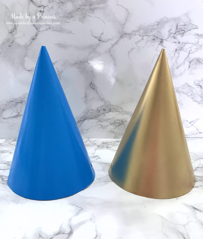 unicorn princess party hat idea tutorial spray paint simple party hats gold