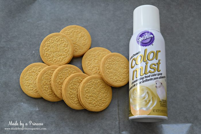 Gold Covered OREO Cookies Party Food Idea color mist and cookies