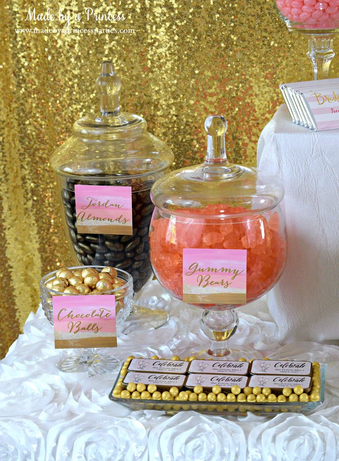 Pink Gold Party Candy Buffet Label almonds gummy bears chocolate balls