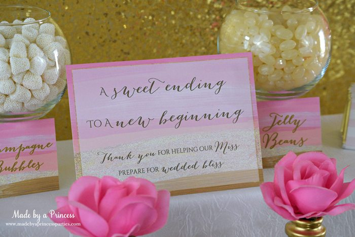 Pink Gold Party Candy Buffet Label candy bar sign
