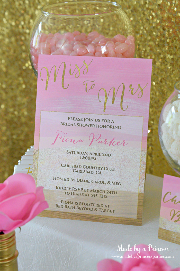 Pink Gold Party Candy Buffet bridal shower invitation