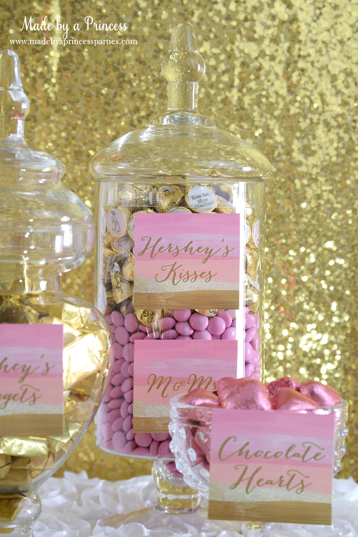 Pink Gold Party Candy Buffet Label kisses m&ms 2