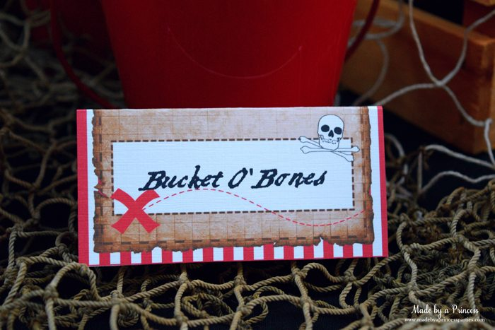 pirate party food free printables bucket o bones label