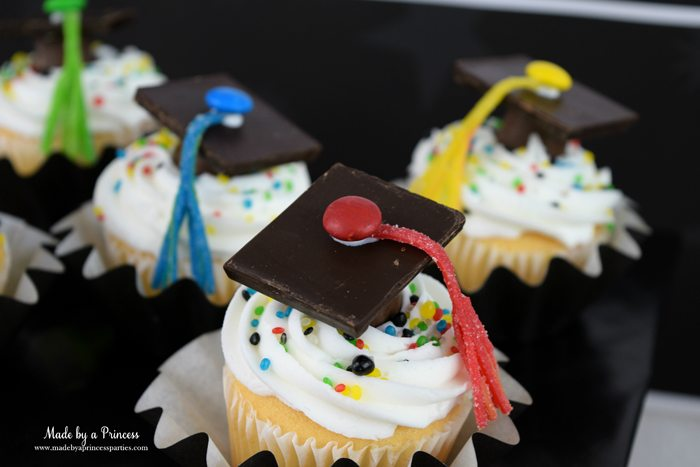 Easy Graduation Party Ideas graduation candy cap cupcake topper