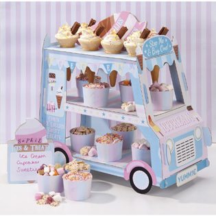First Birthday Ice Cream Party Ideas dessert cart