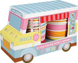 First Birthday Ice Cream Party Ideas van with cups and spoons