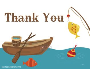 Fishing Baby Shower Ideas thank you note