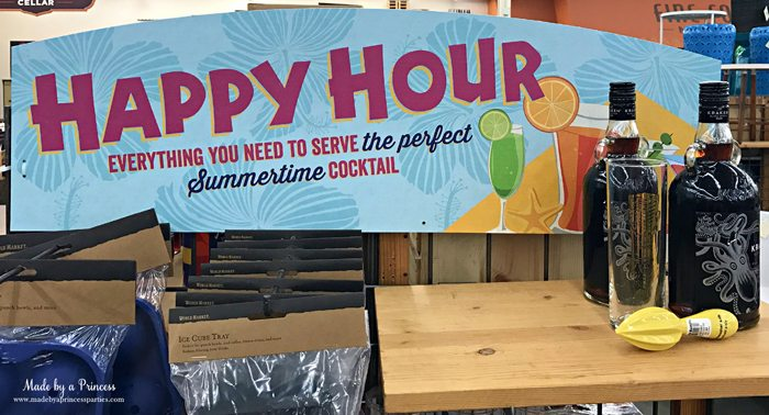Summertime Picnic Basket Must Haves happy hour sign and rum