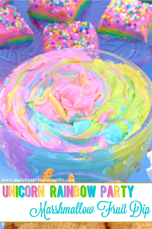 Unicorn Party Rainbow Marshmallow Cream Cheese Fruit Dip Recipe is the perfect unicorn party food #unicornparty #rainbowparty #partyfood #unicornfood #rainbowfood @madebyaprincess