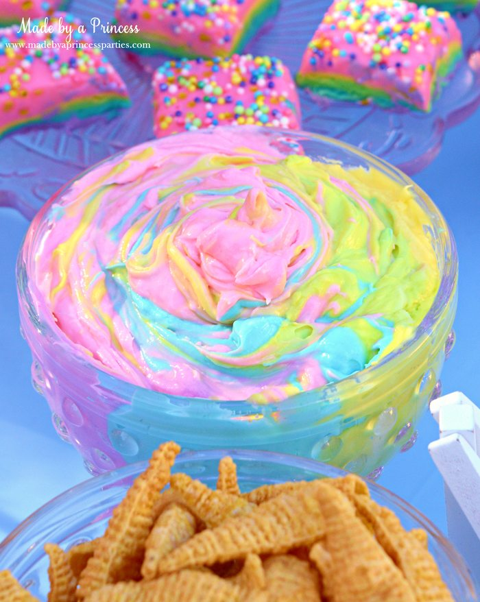 Unicorn Party Rainbow Marshmallow Cream Cheese Fruit Dip Recipe mix colors to make a swirled rainbow
