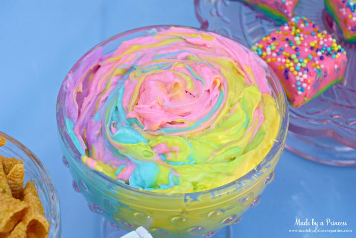 Unicorn Party Rainbow Marshmallow Cream Cheese Fruit Dip Recipe serve with bugles and rainbow fudge