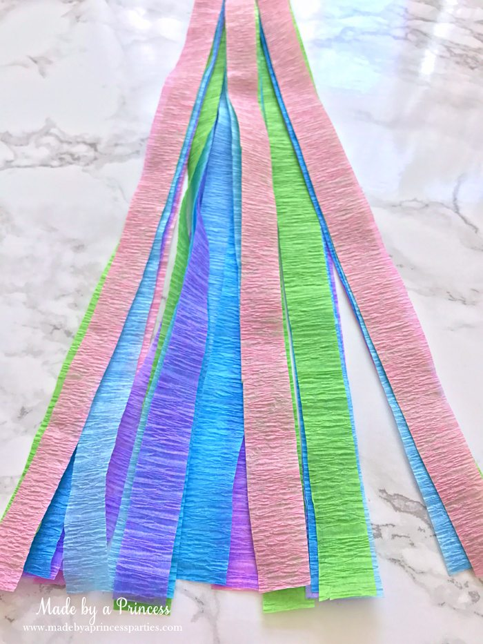 unicorn tail party idea tutorial beginning to look like a tail
