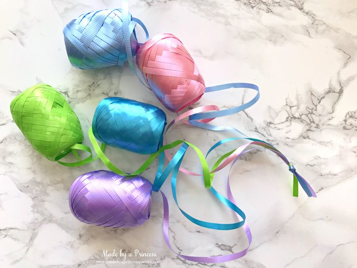 unicorn tail party idea tutorial tie curling ribbon together