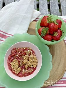 strawberry almond cobbler made from fresh local strawberries | Made by a Princess