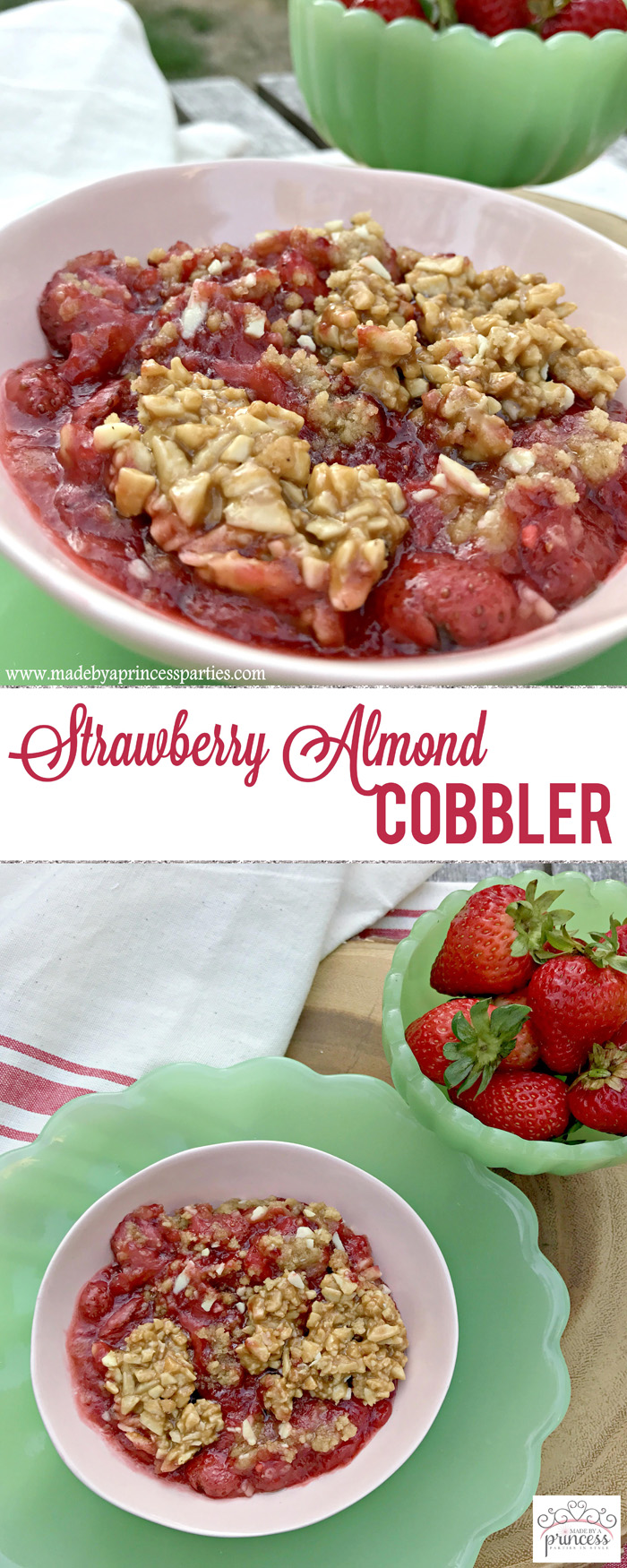 strawberry almond cobbler pin it | Made by a Princess
