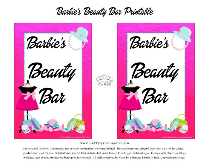 Fashionista Barbie Party Ideas Free Printables - DIY Beauty Bar Sign - Made by a Princess