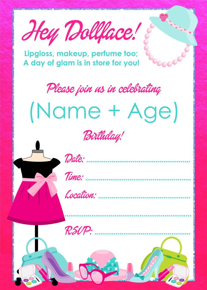 Fashionista Barbie Party Ideas Free Printables - Editable Invitation - Made by a Princess