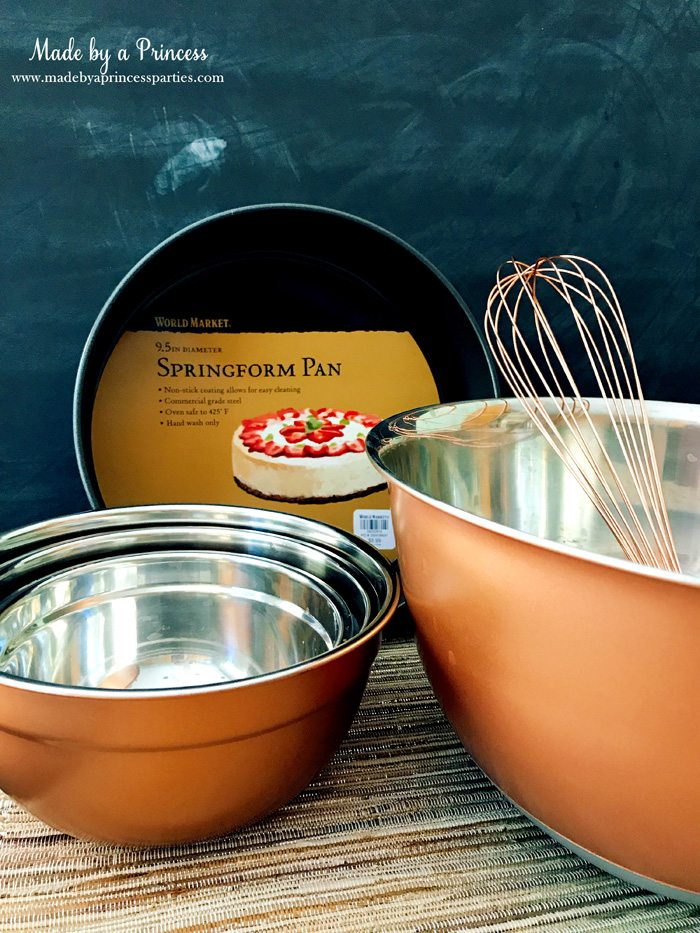 Gingerbread Cheesecake Dessert Recipe bowls and springform from World Market Made by a Princess #gingerbreadcheesecake