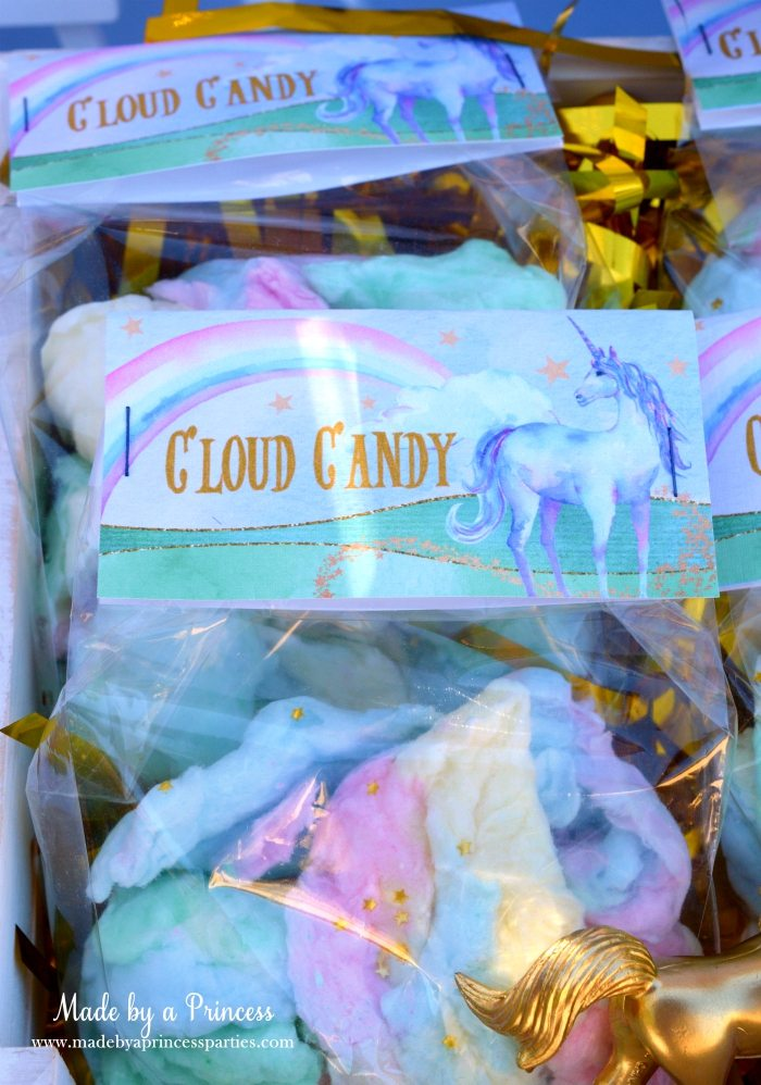 Unicorn Party Ideas Cotton Candy Cloud Candy - Made by a Princess #unicorn #unicornparty