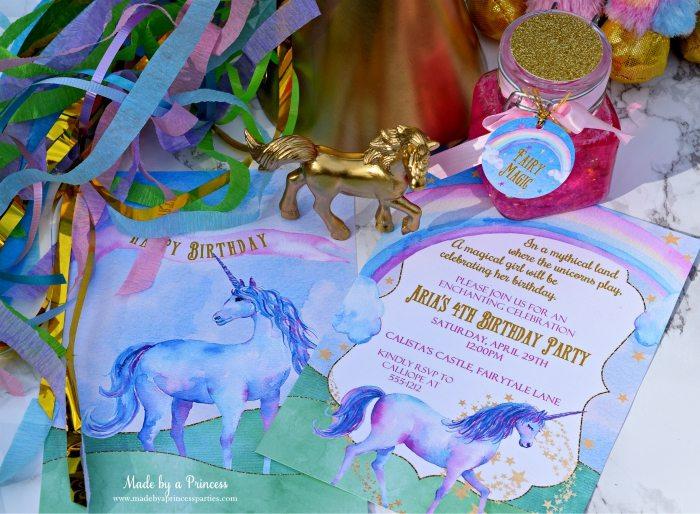 Unicorn Party Ideas Invitation - Made by a Princess #unicorn #unicornparty
