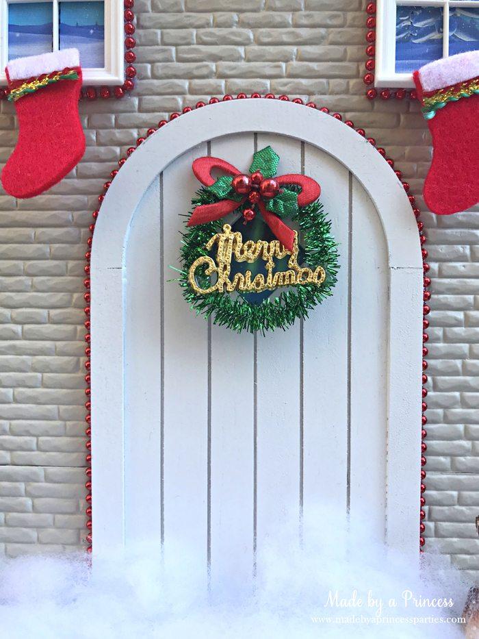 How to Create Your Own Tiny Elf Door Tutorial add wreath to door MadebyaPrincess #elfdoor #fairydoor #elfdoorkit