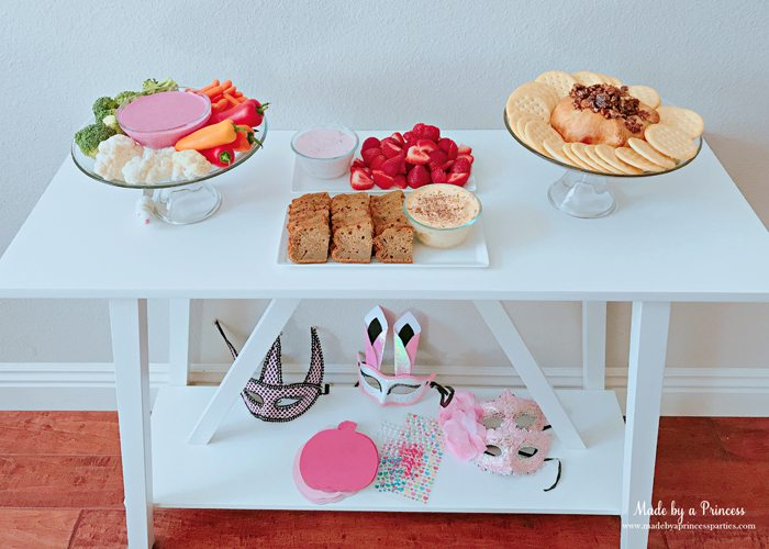 Pink Pumpkin Halloween Party Ideas food table Made by a Princess #pinkparty #pinkoween #pinkpumpkinparty
