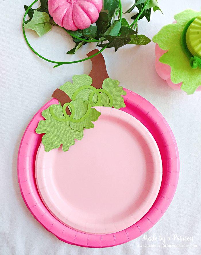 Pink Pumpkin Halloween Party Ideas pink pumpkin plates Made by a Princess #pinkparty #pinkoween #pinkpumpkinparty