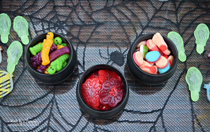 Teen Halloween Party Ideas gummy snacks Made by a Princess #halloweenparty #teenhalloween
