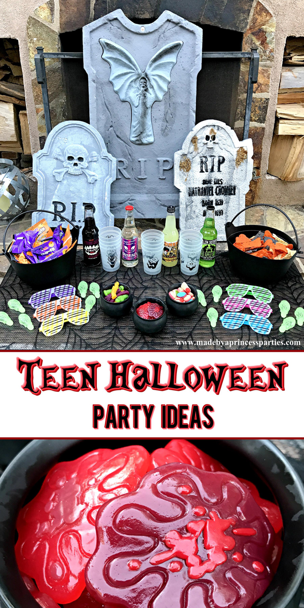 Teen Halloween Party Ideas that you can put together in less than 30 minutes filled with snacks and glow in the dark goodies #teenglowhalloween #halloweenparty #teenhalloween