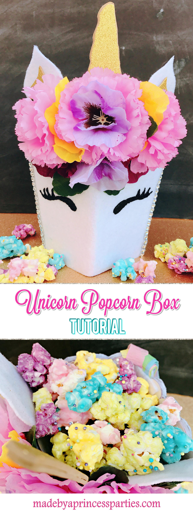 Unicorn Popcorn Box Tutorial Pin it for later @madebyaprincess #popcornboxparty2017