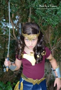 DIY Wonder Woman Movie Halloween Costume with sword from Oriental Trading MadebyaPrincess #halloweencostume #wonderwoman #galgadot #wonderwomancostume