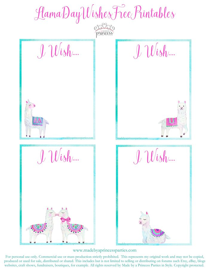 National Llama Day World Market Event Llama Wish Cards Free Printables MadebyaPrincess #nationalllamaday #llama #wishcards