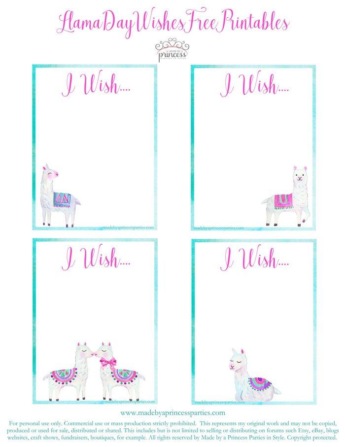 National Llama Day World Market Event Llama Wish Cards Free Printables MadebyaPrincess #nationalllamaday #llama #wishcards