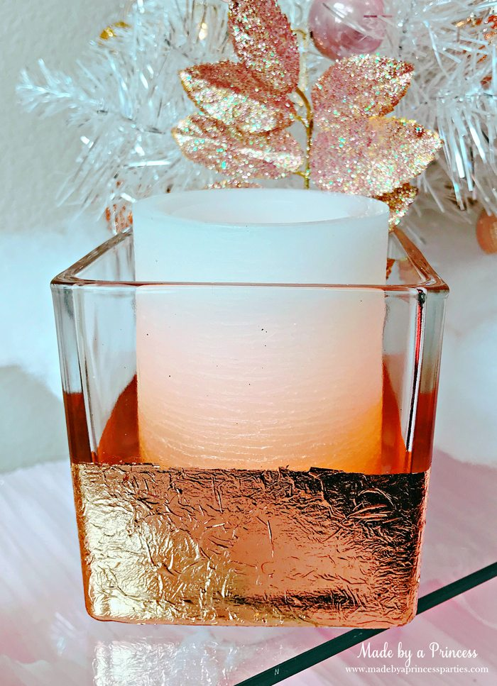 Rose Gold Foil Leaf Vase DIY Party Idea Fill with Candle or Flowers