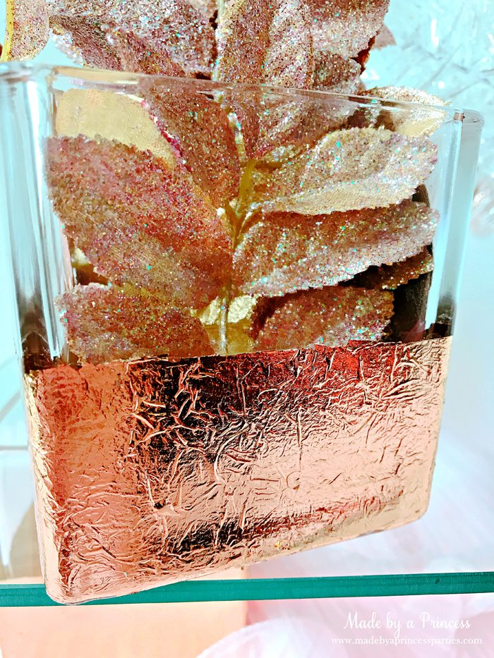 Rose Gold Foil Leaf Vase DIY Party Idea Fill with Flowers or a Candle