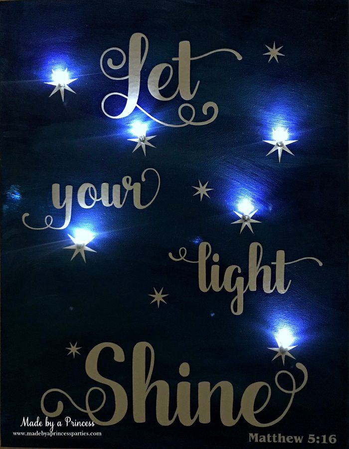 School Auction Art Piece Let Your Light Shine painted canvas with vinyl and LED lights shining