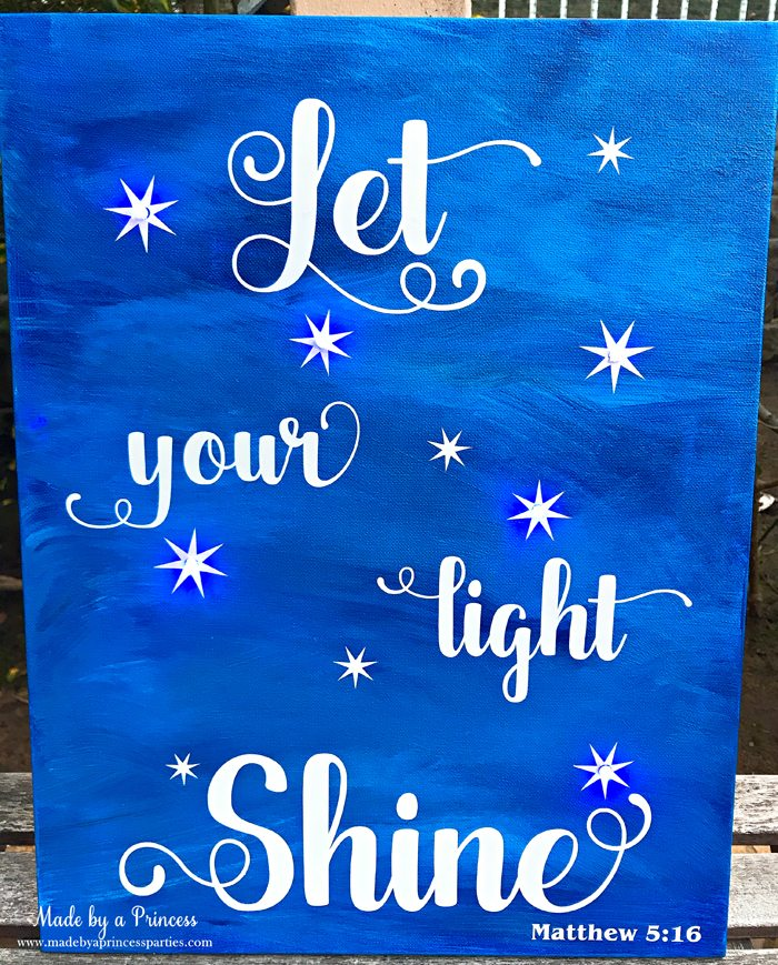 School Auction Art Piece Let Your Light Shine painted canvas with vinyl and LED lights