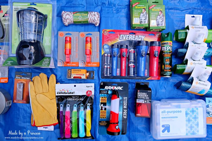 Unique School Silent Auction Idea Emergency Preparedness Kit includes lantern and flashlights